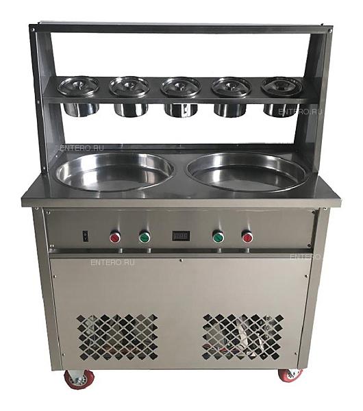 Фризер для жареного мороженого Foodatlas KCB-2Y (контейнеры, стол для топпингов, 2 компрессора)