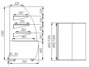 Витрина кондитерская Полюс K70 VV 1,3-1 0102-0109 (ВХСв-1,3д Carboma Люкс)