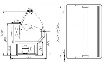 Витрина морозильная Полюс Витрина холодильная G95 SL 1,2-1 (ВХСн-1,2 Полюс)